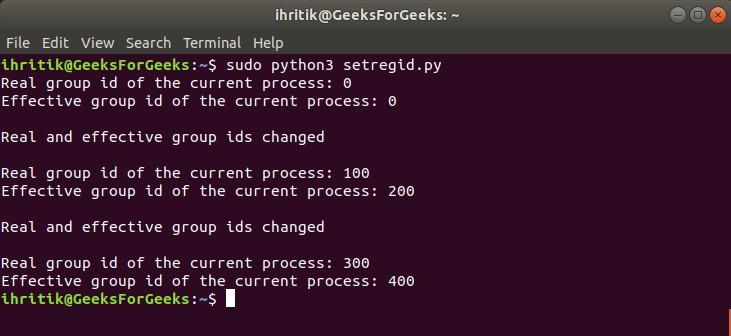 os.setregid() method output