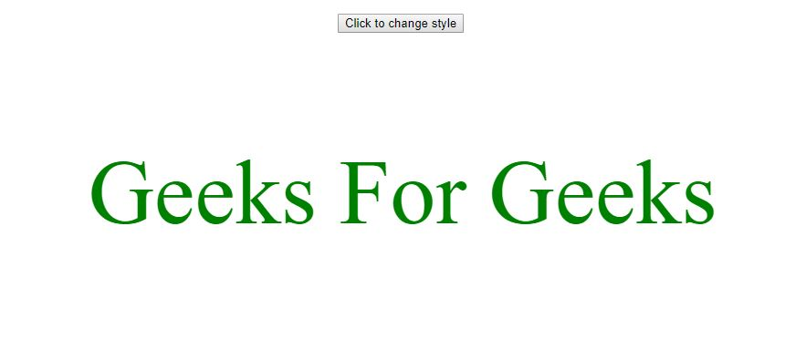 HTML DOM fontstyle before gfg