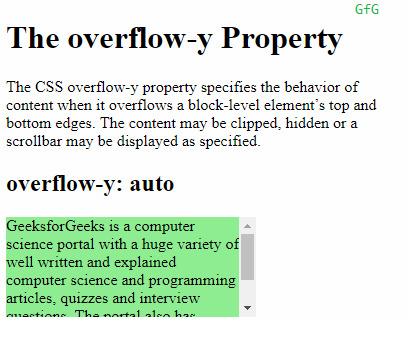 overflow-y:auto